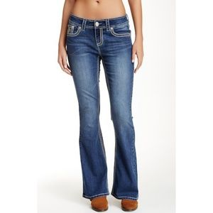 Seven7 Medium Wash White Stitch Flare Jeans